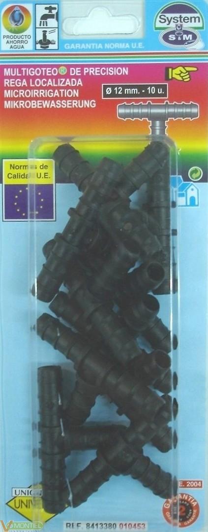 Conector goteo en t 12 mm 10 p-0
