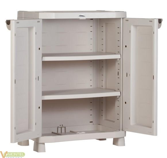 Armario bajo 2p 2b resina beig online armario barato for Armarios jardin baratos