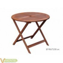 Mesa madera redonda pleg.