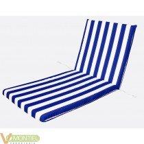 Cojin tumbona blanco/azul 120x