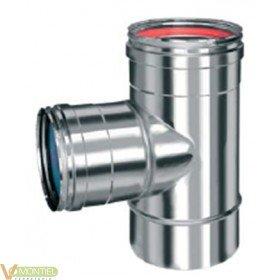 Tubo estufa en t 080 mm inox